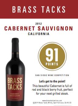 92 points - Brass Tacks 2012 Cabernet Sauvignon Shelftalker