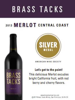 Silver Medal - Brass Tacks 2013 Merlot Shelftalker