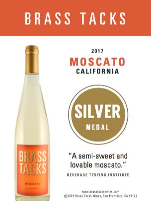 Silver Medal  - Brass Tacks 2017 Moscato Shelftalker