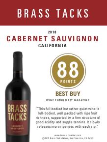 88 points, Best Buy - Brass Tacks 2018 Cabernet Sauvignon Shelftalker