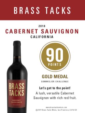 90 points, Gold Medal  - Brass Tacks 2018 Cabernet Sauvignon Shelftalker