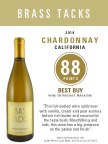 88 points, Best Buy  - Brass Tacks 2018 Chardonnay Shelftalker