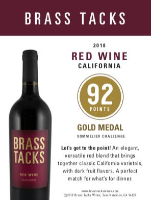 92 points, Gold Medal  - Brass Tacks 2018 Red Wine Shelftalker