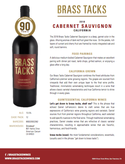 2018 Brass Tacks Cabernet Sauvignon Tasting Notes