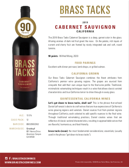 2019 Brass Tacks Cabernet Sauvignon Tasting Notes