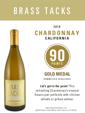 92 points, Gold Medal  - Brass Tacks 2018 Chardonnay Shelftalker