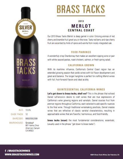 2013 Brass Tacks Merlot Tasting Notes
