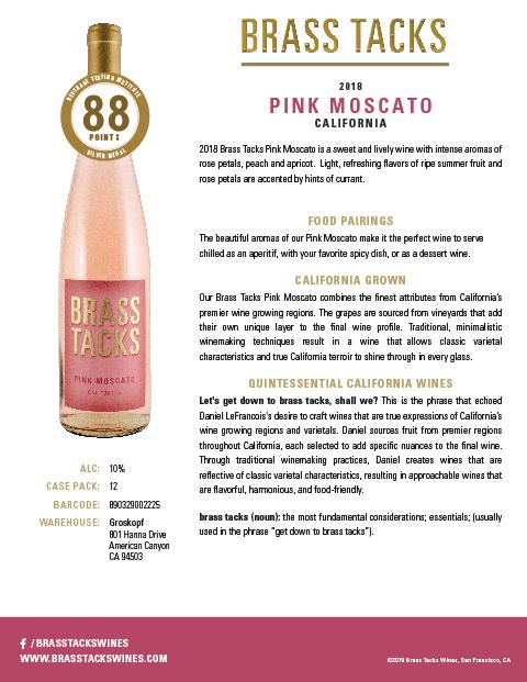 2018 Brass Tacks Pink Moscato Tasting Notes