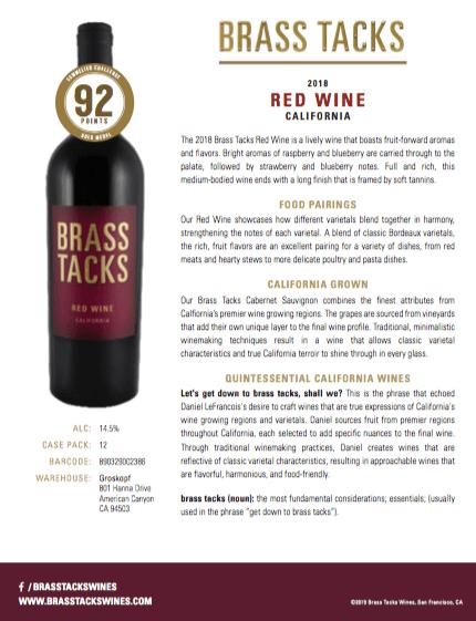 2018 Brass Tacks Red Wine Tasting Notes